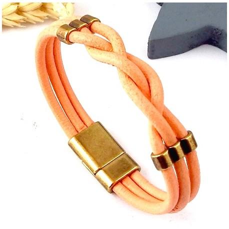 Kit tutoriel bracelet cuir tresse saumon avec perles et fermoir magnetique bronze