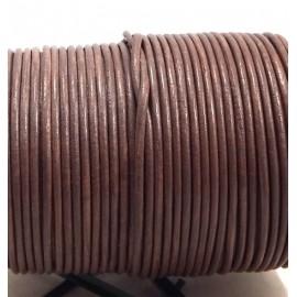 Cordon cuir rond 2mm pierre par 50cm