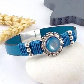 Kit tutoriel bracelet cuir turquoise avec perles et fermoir argent cabochon turquoise