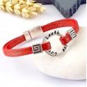 Kit tutoriel bracelet lame rouge voeux perles et fermoir zamak plaque argent