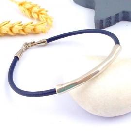 Kit tutoriel cuir marine homme tube large boho plaque argent