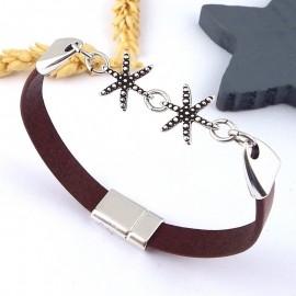kit tutoriel cuir marron et starfish plaque argent
