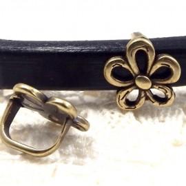 1 passe cuir fleur bronze 15x10mm pour cuir regaliz
