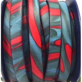Cuir plat 10mm imprime geometrique rouge et bleu