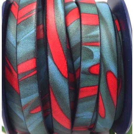 cuir plat 10mm imprime geometrique rouge et bleu par 20 cm