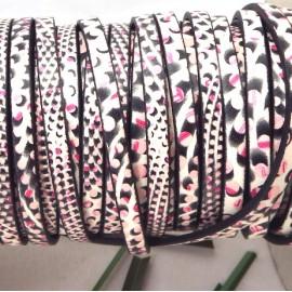 Cuir plat 5mm imprime geometrique rose et noir par 20 cm