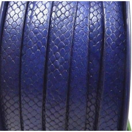 cuir plat 10mm grave serpent bleu par 20 cm