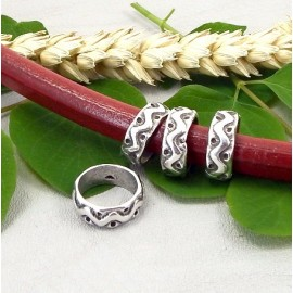 2 perles passe cuir ethnique plaque argent cuir regaliz