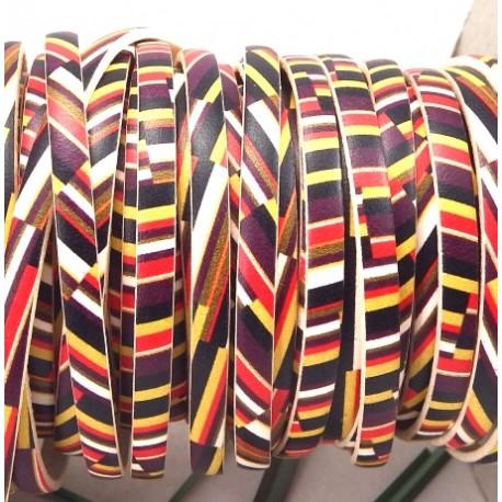 cuir plat 5mm imprime geometrique multicolore par 20 cm