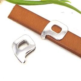 Passe cuir zamak argente lettre P arrondie pour cuir plat 10mm