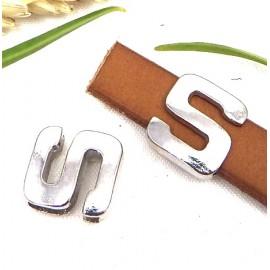 Passe cuir zamak argente lettre S arrondie pour cuir plat 10mm