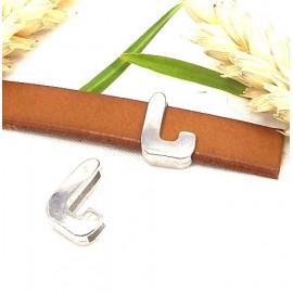 Passe cuir zamak argente lettre L arrondie pour cuir plat 10mm