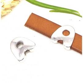 Passe cuir zamak argente lettre A arrondie pour cuir plat 10mm