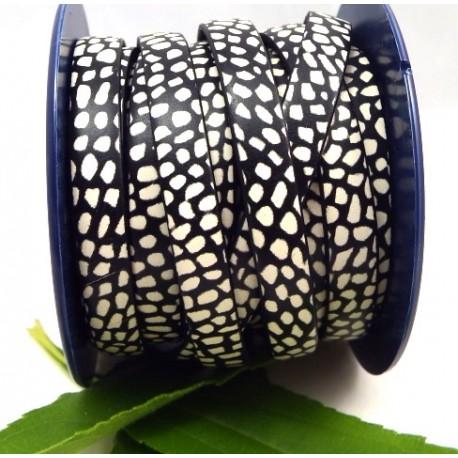 cuir plat 10mm imprime mouchete noir et blanc par 20 cm