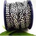 cuir plat 10mm imprime mouchete noir et blanc
