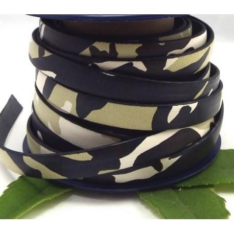 cuir plat 10mm imprime camouflage noir et blanc par 20 cm