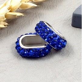 passe cuir strass style shamballa bleu pour cuir regaliz