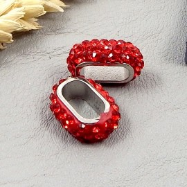 passe cuir strass style shamballa rouge pour cuir regaliz