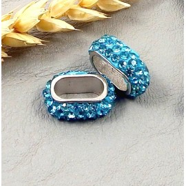 passe cuir strass style shamballa turquoise pour cuir regaliz