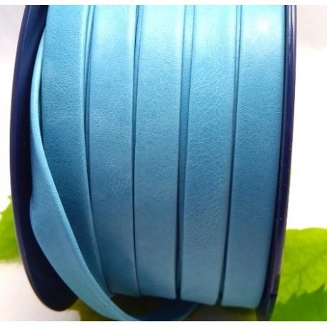 cuir plat 10mm double turquoise par 20 cm