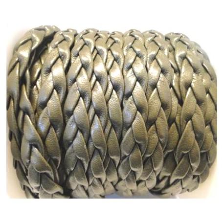 cuir plat tress' kaki 10mm par 20 cm.