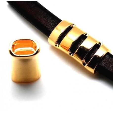 passe cuir tube ajoure rock flashe or pour cuir regaliz