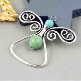 1 pendentif boheme papillon argent vieilli et howlite turquoise 56mm