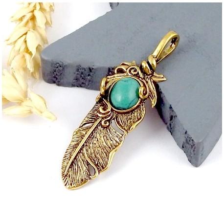 1 pendentif boheme plume dore vielli et howlite turquoise 48x14mm