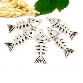 10 pendentifs arete de poisson design argentes 35mm