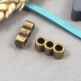 1 passe cuir separateur 3 trous zamak bronzepour cuir 4mm