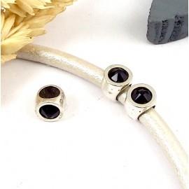 1 perle europeenne plaque argent et cristal swarovski jet pour cuir 5mm