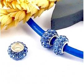 1 perle europeenne shamballa bleu jean pour cuir 6mm
