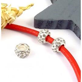 1 perle europeenne shamballa cristal pour cuir 6mm
