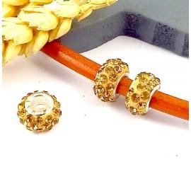 1 perle europeenne shamballa dore pour cuir 6mm