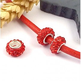 1 perle europeenne shamballa rouge pour cuir 6mm
