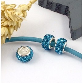 1 perle europeenne shamballa turquoise pour cuir 6mm
