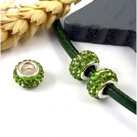 1 perle europeenne shamballa vert pomme pour cuir 6mm