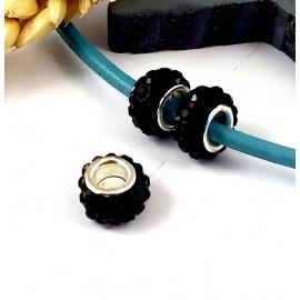 1 perle europeenne shamballa noire pour cuir 6mm