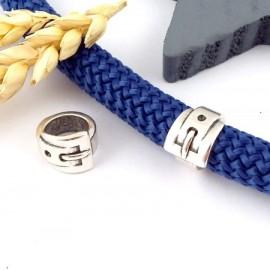 passe cuir forme ceinture plaque argent pour cordon rond 10mm