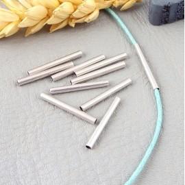 10 perles tube droit laiton argente pour cordon 1.2mm