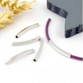 5 perles tube argentees avec angles 25x2mm pour cuir 2mm