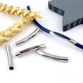 5 perles passantes tube decoupe rhodie pour cuir 4mm