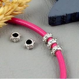 5 perles metal zamak plaque argent pour cuir 3 a 4mm