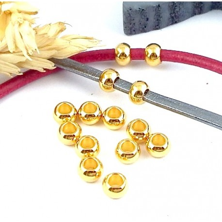 10 perles rondes flashe or 24k pour cuir 2 ou 3mm