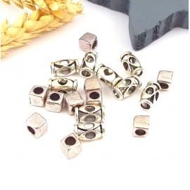 lot de 20 perles metal argente pour cuir 3mm