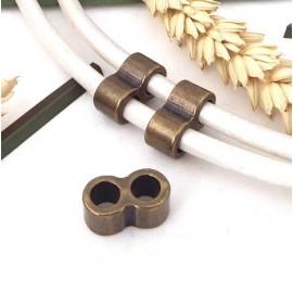 2 passe cuir separateur 2 trous bronze pour cuir 4 ou 5mm