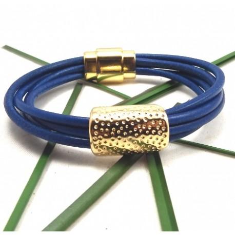 Kit tutoriel bracelet cuir 5 cordons bleu vif