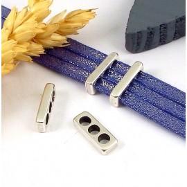 2 passe cuir separateur 3 trous plaque argent rectangulaire pour cuir 3mm