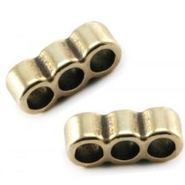 2 passe cuir separateur 3 trous zamak bronzepour cuir 3mm