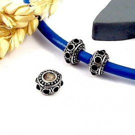 2 perles europeennes argentees ethniques strass noir interieur 4mm